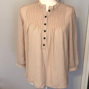 Polka dot ruffle collar popover blouse S